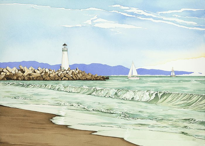 Painting Greeting Card featuring the painting Afternoon Sail Walton Lighthouse by Kerry Van Stockum