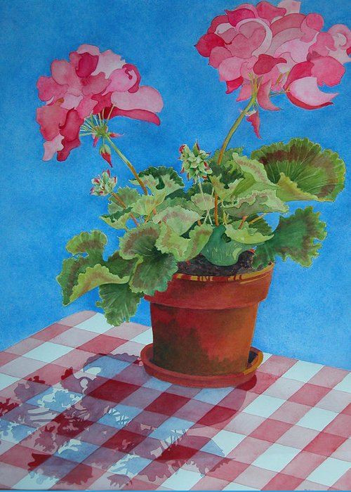 Floral. Duvet Greeting Card featuring the painting Afternoon Shadows by Mary Ellen Mueller Legault