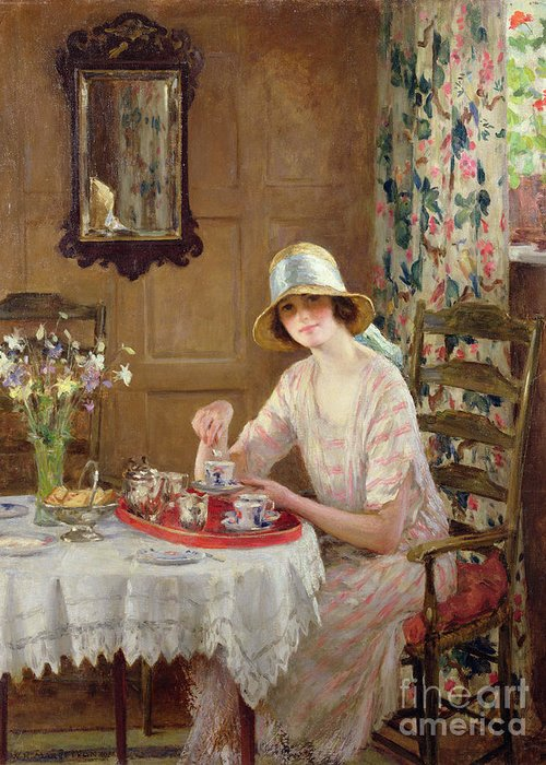 Woman Greeting Card featuring the painting Afternoon Tea by William Henry Margetson