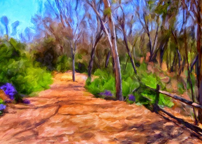 Eucalyptus Trees Greeting Card featuring the painting Afternoon Walk by Michael Pickett