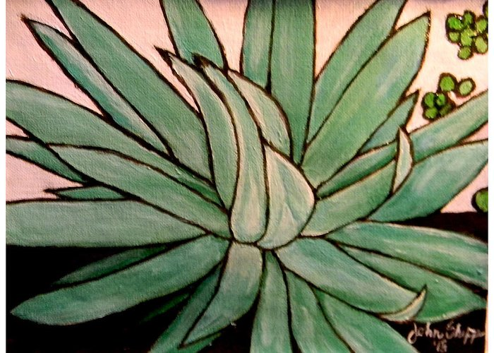 Agave Greeting Card featuring the painting Agave by John Shipp