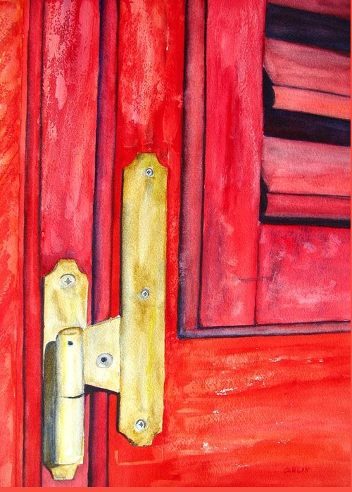 Window Shutter Greeting Card featuring the painting Aged Window Shutter Hinge by Carlin Blahnik CarlinArtWatercolor