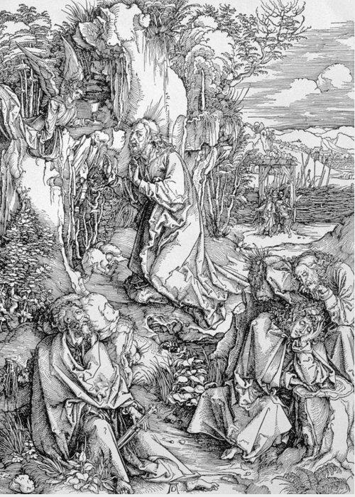Print Greeting Card featuring the painting Agony In The Garden From The 'great Passion' Series by Albrecht Duerer