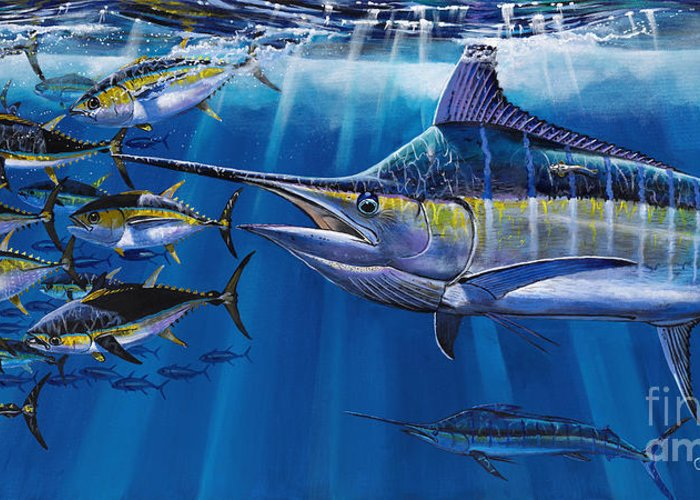 Marlin Greeting Card featuring the painting Agressor Off00140 by Carey Chen