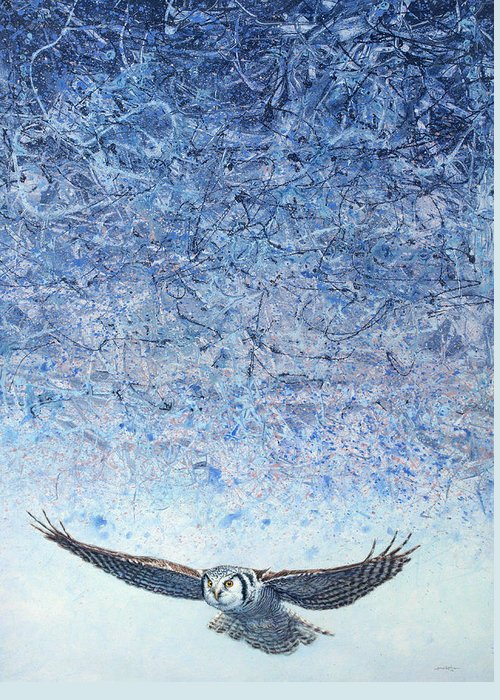 Owl Greeting Card featuring the painting Ahead Of The Storm by James W Johnson