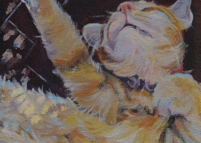 Cat Greeting Card featuring the painting Ahhh...retirement by Stephanie Allison