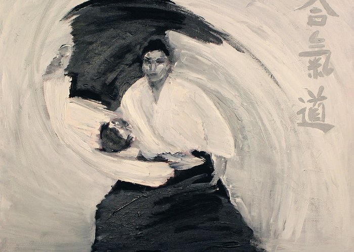 Aikido martial art greeting card for sale by dez sziklai aikido greeting card featuring the painting aikido martial art by dez sziklai m4hsunfo