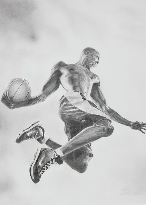 Basketball Greeting Card featuring the drawing Air Ball by Jennifer Whittemore