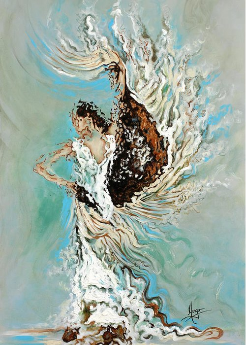 Flamenco Greeting Card featuring the painting Air by Karina Llergo
