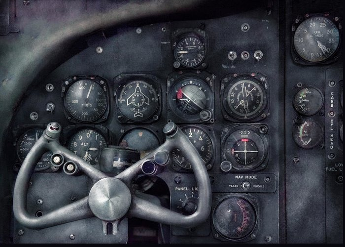 Suburbanscenes Greeting Card featuring the photograph Air - The Cockpit by Mike Savad