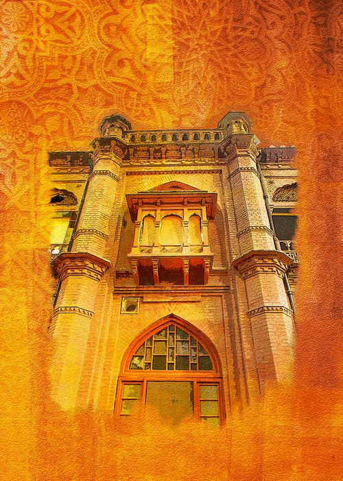 Pakistan Greeting Card featuring the painting Aitchison College by Catf