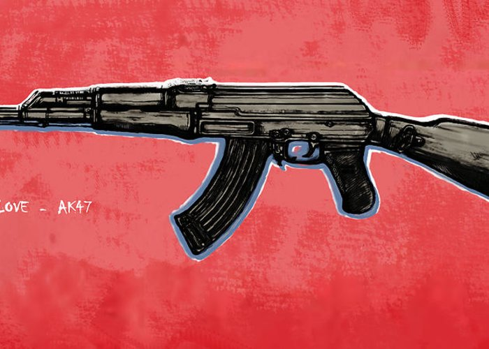 Ak - 47 Gun Drawin Art Poster Greeting Card featuring the drawing Ak - 47 Gun Pop Art Drawin Poster by Kim Wang
