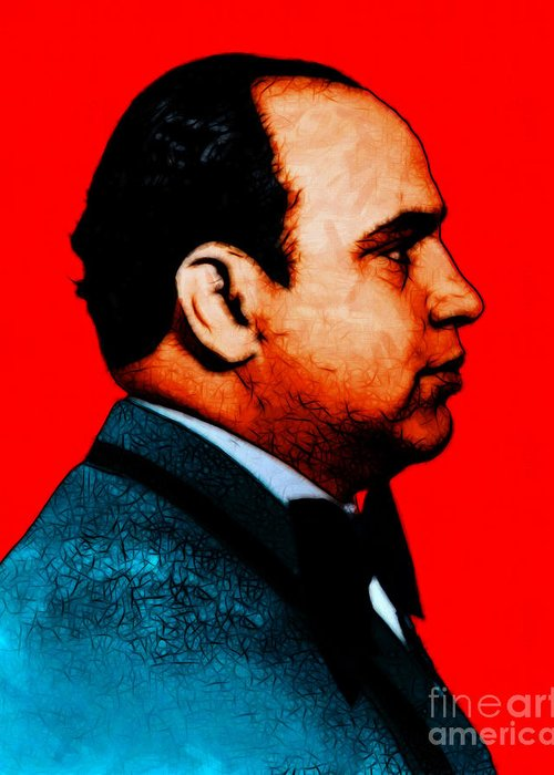 Al Capone Greeting Card featuring the photograph Al Capone C28169 - Red - Painterly by Wingsdomain Art and Photography