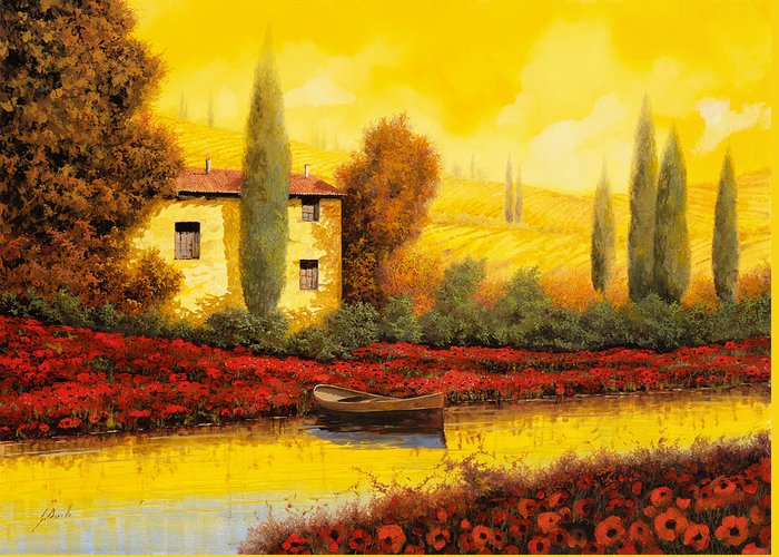 Guido Greeting Card featuring the painting Al Tramonto Sul Fiume by Guido Borelli