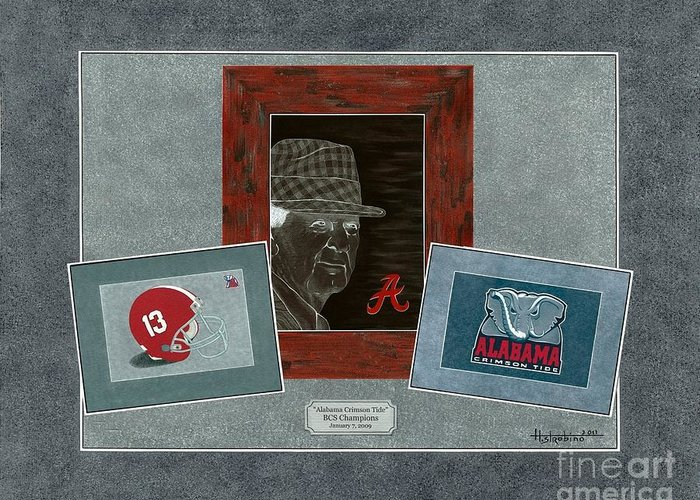 Bear Bryant Greeting Card featuring the painting Alabama Trio by Herb Strobino