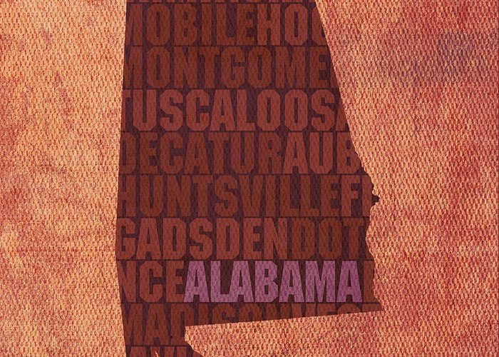 Alabama Word Art State Map On Canvas Greeting Card featuring the mixed media Alabama Word Art State Map On Canvas by Design Turnpike