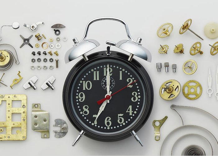 White Background Greeting Card featuring the photograph Alarm Clock And Parts by Biwa Studio