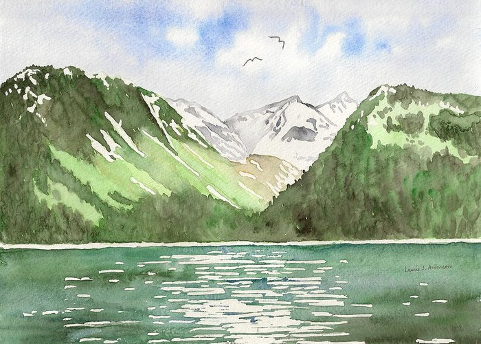 Alaska Greeting Card featuring the painting Alaska Kenai Fjords by Laurie Anderson