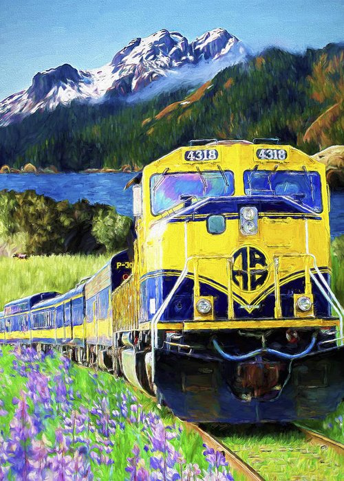 Railroad Greeting Card featuring the painting Alaska Railroad by David Wagner