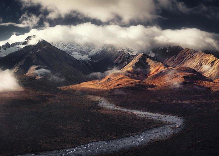 Landscape Greeting Card featuring the photograph Alaska Range by Jerrywangqian
