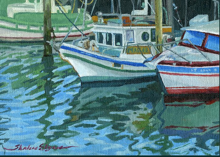 Boats Greeting Card featuring the painting Alaskan Boats In Rippling Water by Shalece Elynne