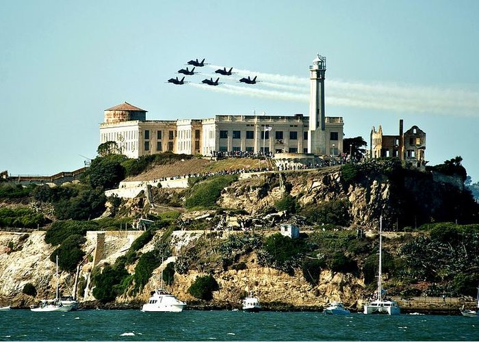 Blue Angels Greeting Card featuring the photograph Alcatraz Blues by Benjamin Yeager
