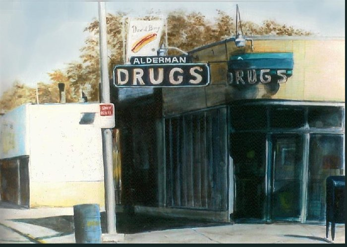 Urban Greeting Card featuring the painting Alderman Drugs by William Brody