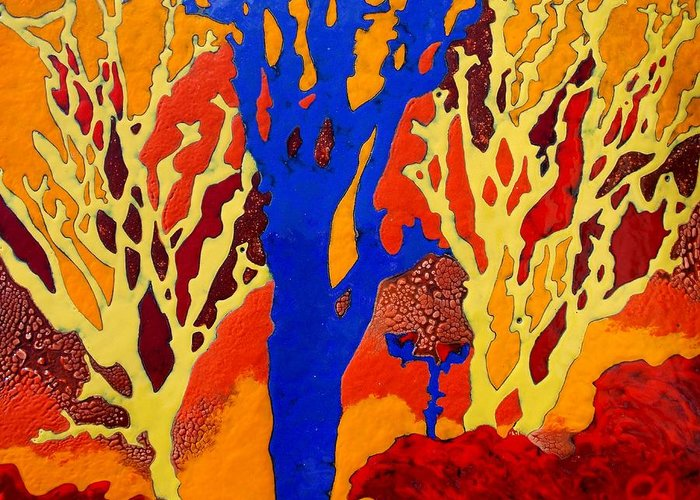 Trees Greeting Card featuring the painting Aleshinsky Path by Olga Aleksandrova
