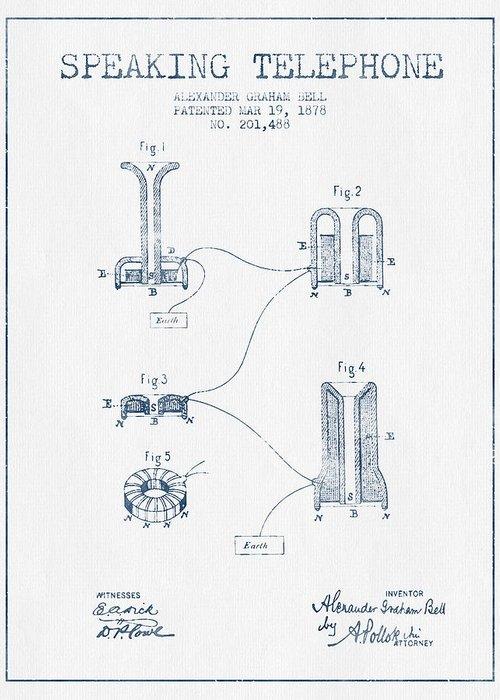 Alexander graham bell speaking telephone patent from 1878 blue alexander graham bell greeting card featuring the drawing alexander graham bell speaking telephone patent from 1878 m4hsunfo