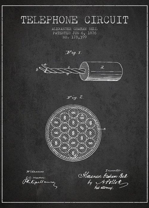 Alexander graham bell telephone circuit patent from 1876 dark alexander graham bell greeting card featuring the drawing alexander graham bell telephone circuit patent from 1876 m4hsunfo