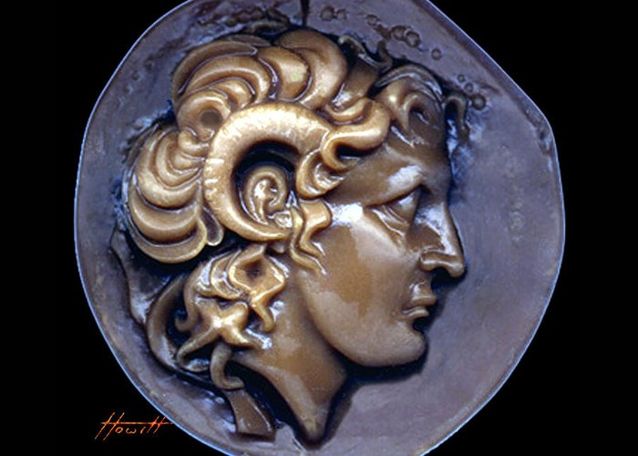 Alexander Greeting Card featuring the sculpture Alexander The Great by Patricia Howitt