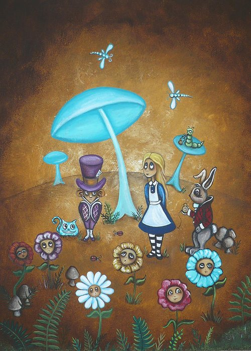 Fairytale Greeting Card featuring the painting Alice In Wonderland - In Wonder by Charlene Murray Zatloukal