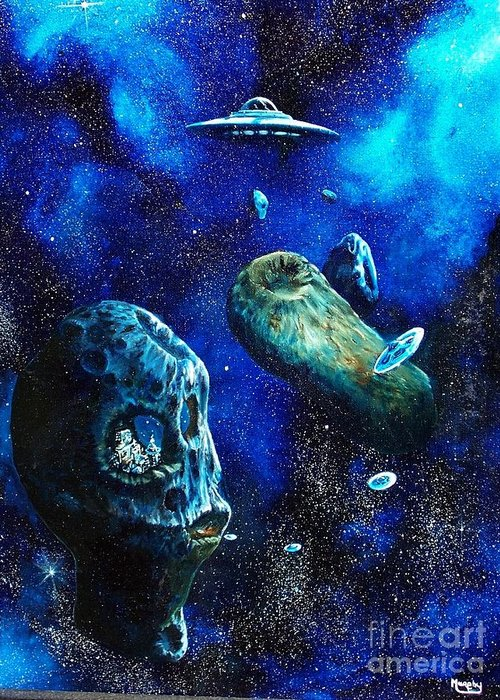 Space Greeting Card featuring the painting Alien Space Hideout by Murphy Elliott
