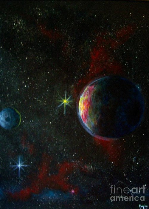 Cosmos Greeting Card featuring the painting Alien Worlds by Murphy Elliott