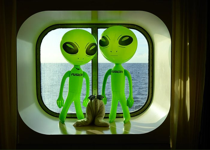 Aliens Greeting Card featuring the photograph Aliens in the Cabin Window by Richard Henne
