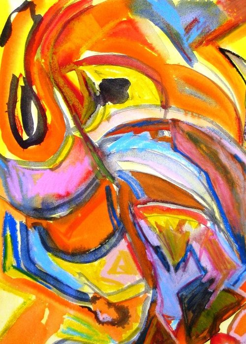 Abstract Greeting Card featuring the painting Alive by Rashne Baetz