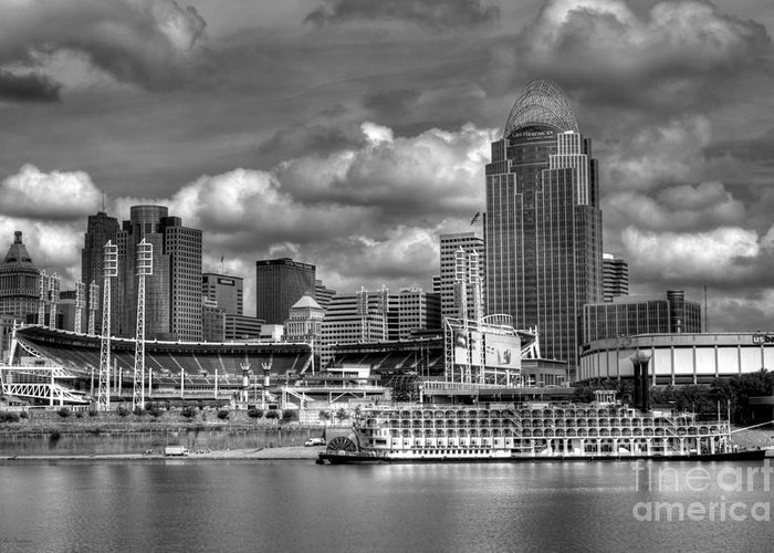 Cityscapes Greeting Card featuring the photograph All American City Bw by Mel Steinhauer