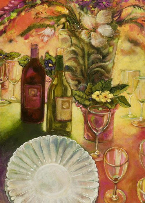 Wine Greeting Card featuring the painting All Are Gathered by Jen Norton