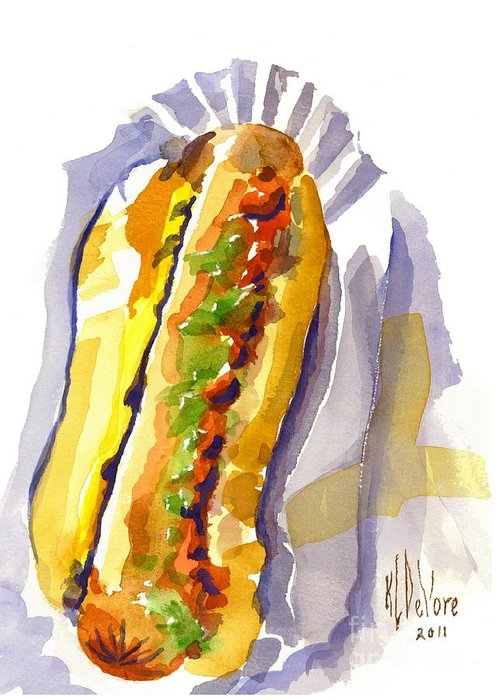 All Beef Ballpark Hot Dog With The Works To Go In Broad Daylight Greeting Card featuring the painting All Beef Ballpark Hot Dog With The Works To Go In Broad Daylight by Kip DeVore