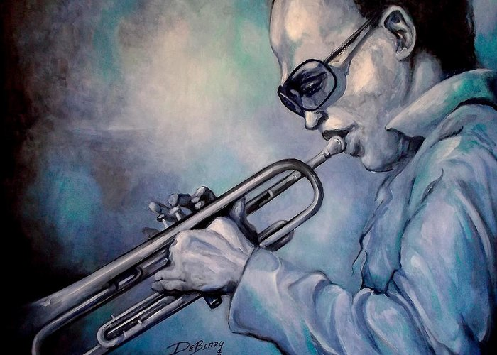 Glecee Limited Edition Print Of Miles Davis Greeting Card featuring the painting All Blue Print by Lloyd DeBerry