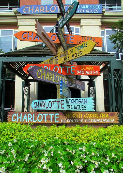 Sign Greeting Card featuring the photograph All Charlottes by Randall Weidner