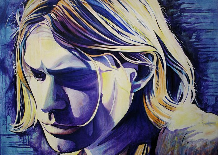 Kurt Cobain Greeting Card featuring the painting All In All Is All We Are by Joshua Morton