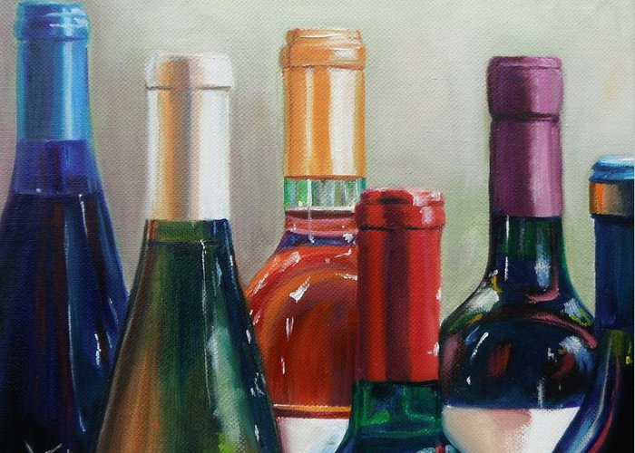 Wine Greeting Card featuring the painting All Lined Up by Donna Tuten