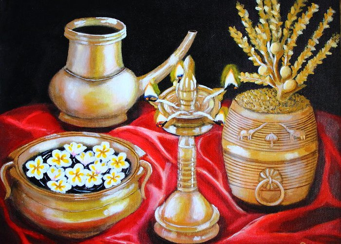 Still Life Bronze Brass Metal Flowers Gold Light Satin Silk Red Golden Shine Traditional Kerala Rituals Grain Lamp Water Carrier Frangipani Flowers Coconut Blossoms Greeting Card featuring the painting All That Glitters by Greeshma Manari