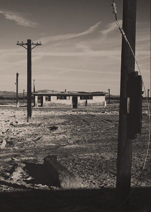 Telephone Poles Greeting Card featuring the photograph All That's Left Of Us by Laurie Search