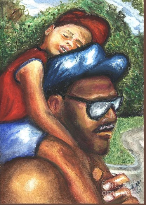 Father And Son Greeting Card featuring the mixed media All Tuckered Out by Alga Washington