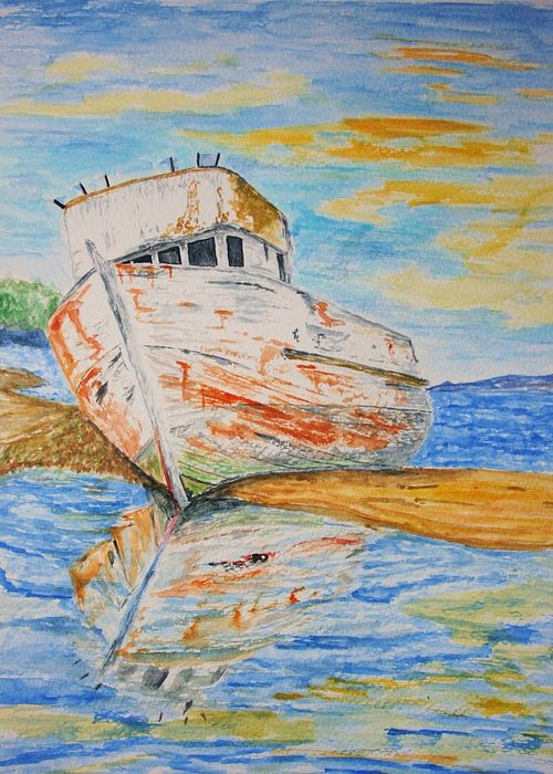 Boat Greeting Card featuring the painting All Washed Up by Paul Morgan