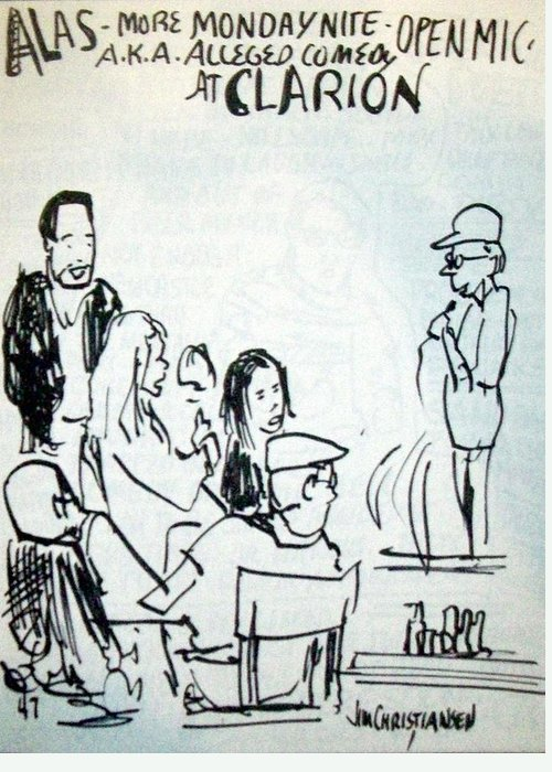 Clarion Greeting Card featuring the drawing Alleged Comedy At Clarion Modesto by James Christiansen