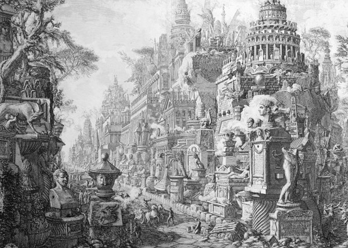 Allegory; Fantasy; Imagination; Imaginative; Architecture; Symbols; Ancient Rome Greeting Card featuring the drawing Allegorical Frontispiece Of Rome And Its History From Le Antichita Romane by Giovanni Battista Piranesi
