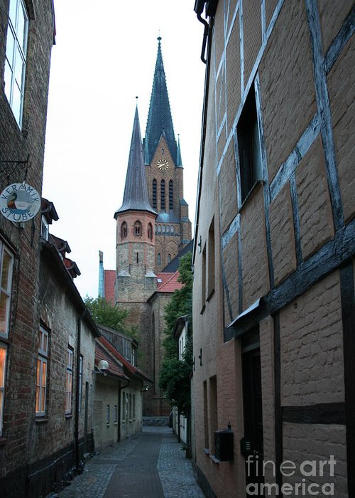 Alley Greeting Card featuring the photograph Alley In Schleswig - Germany by Christiane Schulze Art And Photography